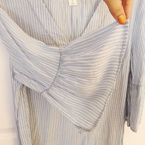 Blue and White Striped Top/Blouse